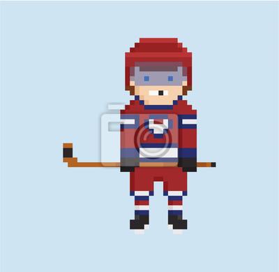 Posters Style Pixel Art Illustration Montre Le Joueur De Hockey En Rouge
