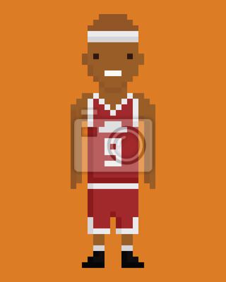 Posters Style Pixel Art Joueur Jeune Homme Noir De Basket Ball En Uniforme