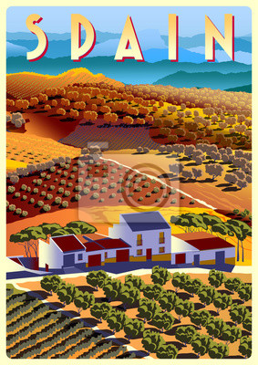 Summer day in Spain with ranches, vineyards, olive groves, fields and hills in the background. Handmade drawing vector illustration. Poster in the Art Deco style.