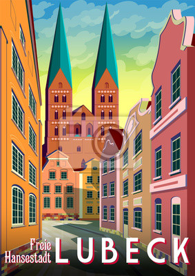 Summer day in the street of Lubeck, Germany, with traditional houses and the Cathedral in the background.