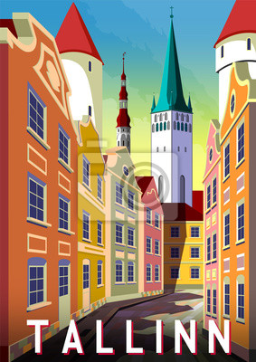 Summer day in the street of Tallinn, Estonia, with traditional houses and the Cathedral in the background.