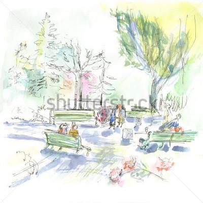 Posters Summer park, sketch, watercolor