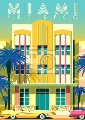 Sunny day in Miami, USA, with traditional hotel in retro style in the first plan.