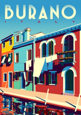 Sunny summer day in Burano, Italy, with canal and traditional houses.