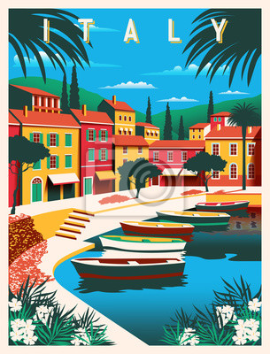 Sunny summer day in Italy. Handmade drawing vector illustration. Can be used for posters, banners, postcards, books & etc.