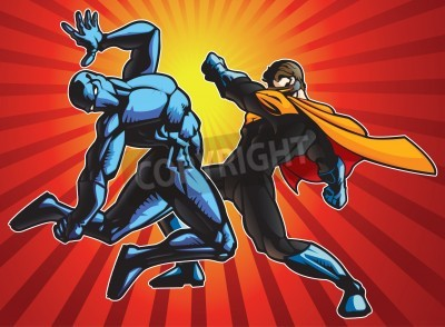 Posters Super hero and a ninja doing battle.