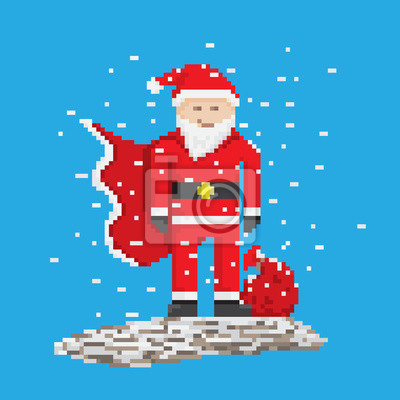 Posters Super Hero Père Noël Avec Sac Style Pixel Art Illustration