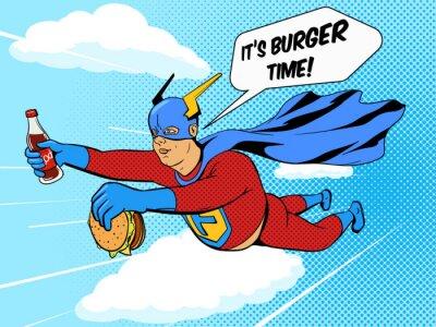 Posters Super-héros, gras, homme, hamburger, comique, Livre, vecteur