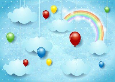 Posters Surréaliste, nuages, coloré, ballons