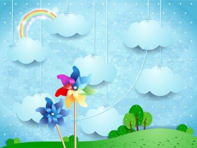 Posters Surréaliste, paysage, pinwheels, accrocher, nuages