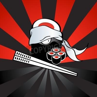Posters Sushi Ninja avec katana-baguettes dangereuses et rouleaux épicées