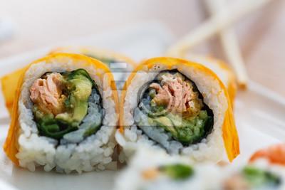 Sushi, plaque, baguettes