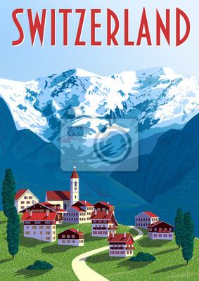 Switzerland Travel Poster. Handmade drawing vector illustration.