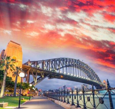 Posters Sydney, port, pont, beau, Coucher soleil, NSW - Australie