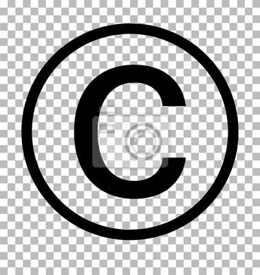 Posters Symbole de copyright sur un fond transparent. Signe de copyright. Icône du droit d'auteur