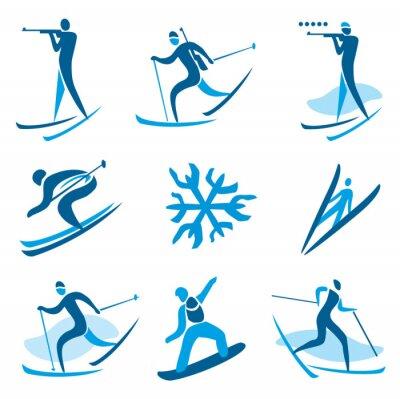 Posters symboles de sports d'hiver