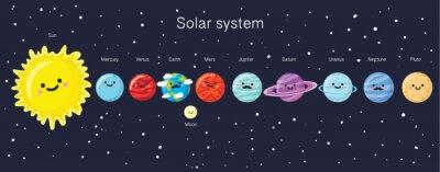 Posters Système solaire avec de jolies planètes souriantes, le soleil et la lune.