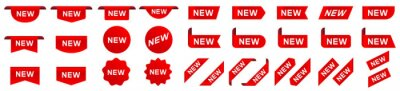 Posters Tag new set. New label and tag. Sticker with word new. Vector