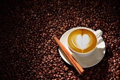 Posters Tasse, latte, art, café, café, haricots