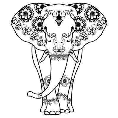 Posters Tatouage de Mehndi Éléphant décoré dans le style indien
