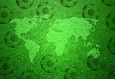 Posters Terrain de football avec la carte du monde et le modèle de ballons de soccer.