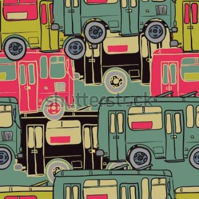 Posters Textile modèle sans couture d'autobus colorés