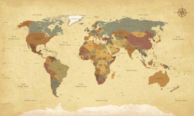 Posters Texturé, vieux, Monde, carte, -, anglaise, É.-U., étiquettes, vecteur, CMJN