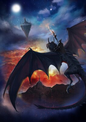 Posters The dragon warrior are sitting on the dragon flying to the floating island with sky and burning background.  2D artwork.