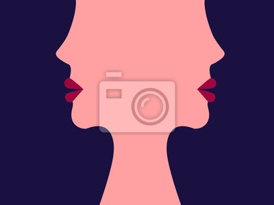 Posters The face of women. The girls. Abstract illustration. Flat style. Minimalism. Illustration for advertising, business cards and printing on t-shirts.