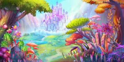 Posters The Forest and Castle. Mountain and River. Fiction Backdrop. Concept Art. Realistic Illustration. Video Game Digital CG Artwork. Nature Scenery.
