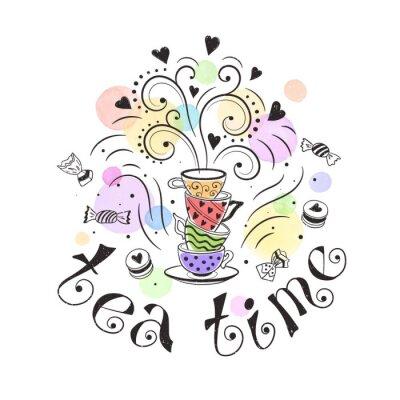 Posters Thé, temps, affiche, concept Conception de carte de partie de thé. Dessin tiré illustration doodle avec des théières, des tasses et des bonbons.