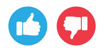 Posters Thumbs up and thumbs down circle emblems. Like and dislike icons. illustration
