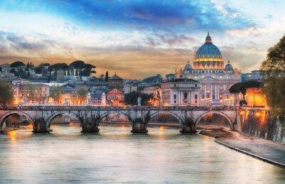 Posters Tibre et Basilique Saint-Pierre au Vatican avec arc-en-ciel, Rome