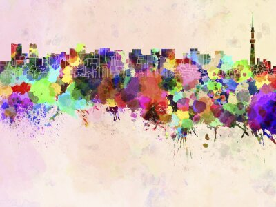 Posters Tokyo, Horizon, aquarelle, fond