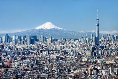 Posters Tokyo Skyline mit le Mont Fuji und Skytree