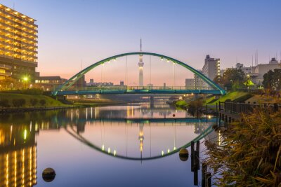 Posters tokyo skytree and colorful bridge in refection