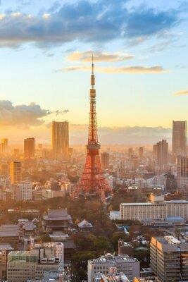 Posters Tokyo toits de la ville au coucher du soleil à Tokyo