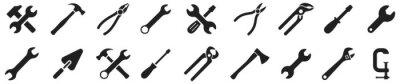 Posters Tools icons set. Instruments signs collection. Tool simple icon. Vector illustration