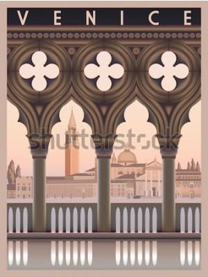 Posters Tôt le matin à Venise, en Italie. Modèle de carte postale ou de voyage. Tous les bâtiments sont des objets différents. Illustration vectorielle dessin à la main. Style vintage.