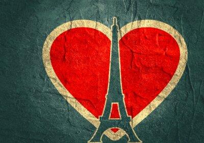 Posters Tour Eiffel à Paris. Silhouette silhouette. Contexte radiant gradient