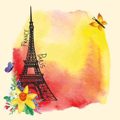 Posters Tour Eiffel, Aquarelle tache, carte Narcisse bouquet.Paris