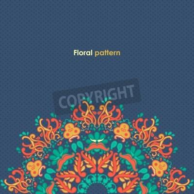 Posters Tour ornementale motif de dentelle florale motif floral kaléidoscopique, mandala