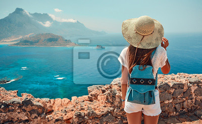 Posters Tourism, travel, vacation on the rocky sea.