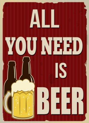 Posters Tout ce que vous avez besoin est affiche rétro de bière