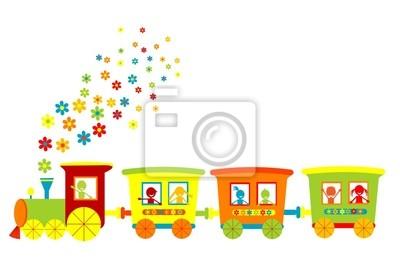 Toy train avec des enfants heureux