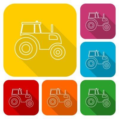 Posters Tracteur, icônes, ensemble, long, ombre