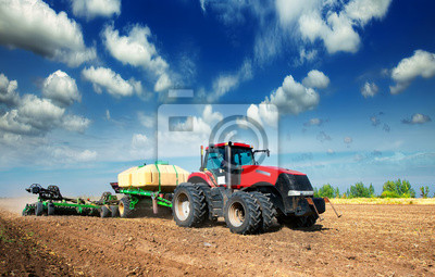 Posters tractor in a field