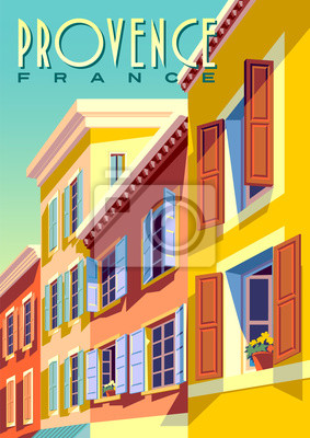 Traditional french houses in Provence, France, on a sunny day.