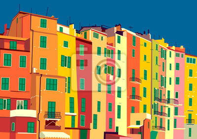 Traditional itallian houses in small village in Liguria, Italy.