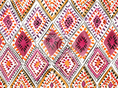 Posters Traditional moroccan rug with rhombic ornament. Seamless watercolor pattern